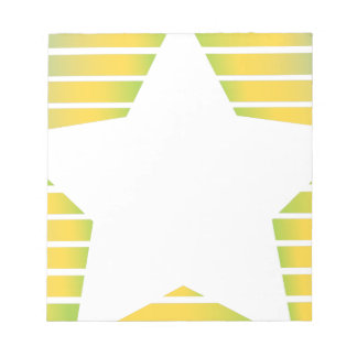 Yellow Green Stripes With Star Notepad
