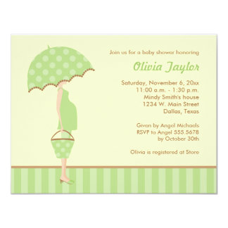 Yellow Green Stylish Mom Baby Shower Invitations