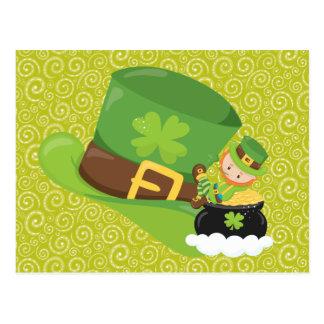 Yellow Green Swirls Green Hat Leprechaun Postcard