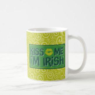 Yellow Green Swirls Kiss Me I am Irish Mug Basic White Mug