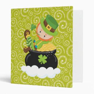Yellow Green Swirls Leprechaun With Gold Binder