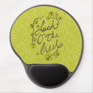 Yellow Green Swirls Luck of the Irish Gel Mousepad