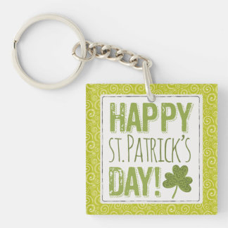 Yellow Green Swirls St. Patrick's Day Key Chain Double-Sided Square Acrylic Keychain