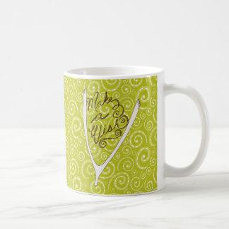 Yellow Green Swirls Wishbone Mug Basic White Mug
