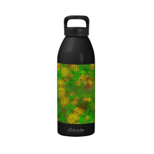 Yellow green texture water bottles