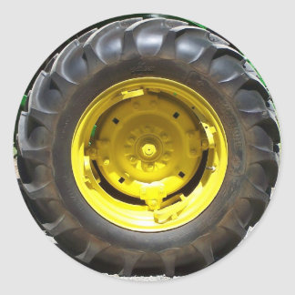 yellow green tractor wheel classic round sticker