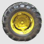 yellow green tractor wheel classic round sticker
