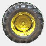 yellow green tractor wheel sticker