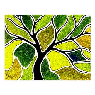 Yellow Green Tree Art Card