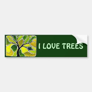 Yellow Green Tree Art Card Car Bumper Sticker