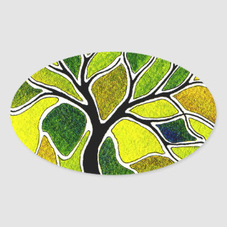 Yellow Green Tree Art Card Oval Stickers