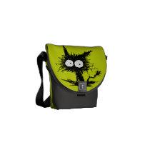 Yellow Green Unkempt Kitten GabiGabi Messenger Bag