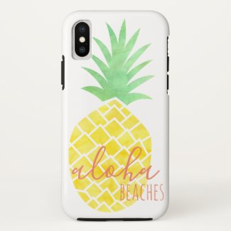 Yellow & Green Watercolor Pineapple Aloha Beachea
