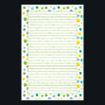"Yellow Green Watercolor Polka Dots Lined Stationery<br><div class=""desc"">Bright and fun lined stationery with watercolor polka dots in shades of green,   yellow and blue.  Fun for letter writing and keeping in touch!</div>"