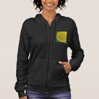 Yellow Green Wheel of Fire Mandala, Abstract Lace Hoodie