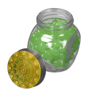 Yellow Green Wheel of Fire Mandala, Abstract Lace Jelly Belly Candy Jar