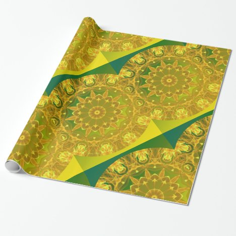 Yellow Green Wheel of Fire Mandala, Abstract Lace Wrapping Paper