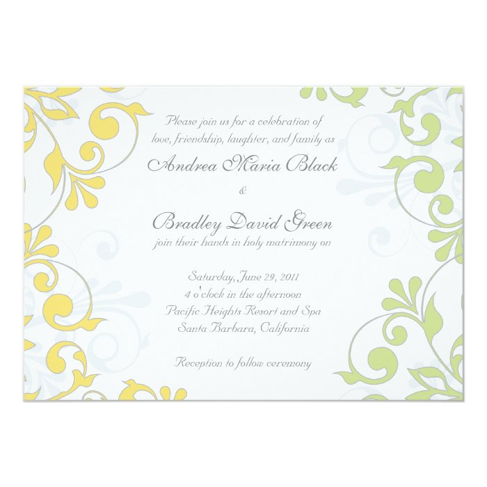 Yellow, Green, White Floral Wedding Invitation