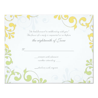 Yellow, Green, White Floral Wedding Reply Card