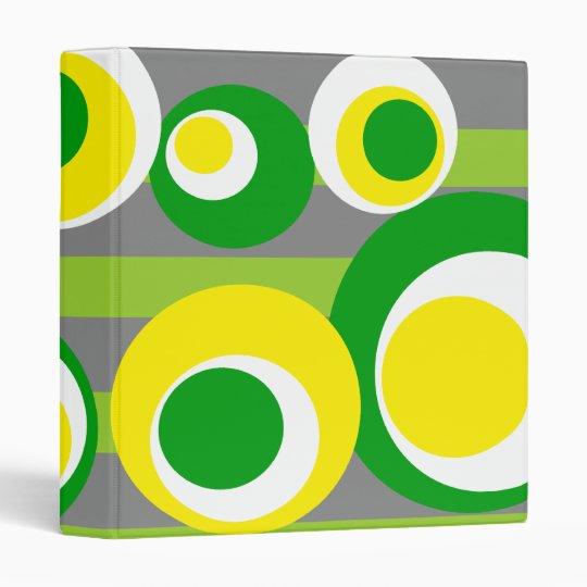 yellow green white Gray Stripes 3 Ring Binder