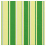 [ Thumbnail: Yellow, Green & White Stripes Fabric ]