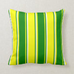 [ Thumbnail: Yellow, Green & White Stripes Throw Pillow ]