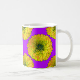 Yellow-Green Zinnia Royal Purple Gifts by Sharles Coffee Mug
