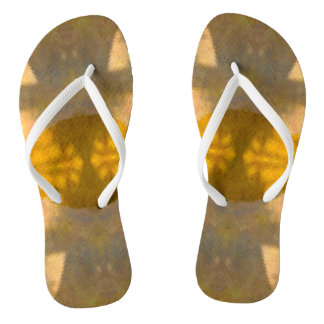 Yellow grey abstract flip flops