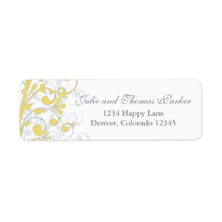 Yellow Grey Abstract Floral Wedding Return Address Label