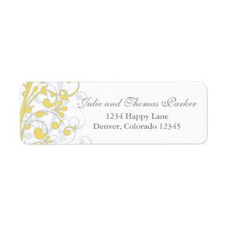 Yellow Grey Abstract Floral Wedding Return Address Return Address Label