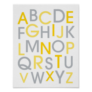 Yellow & Grey Alphabet Nursery Wall Art Print