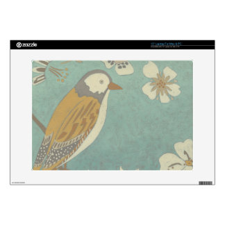 Yellow, Grey and Beige Bird Perched on a Branch Decals For Laptops