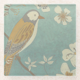 Yellow, Grey and Beige Bird Perched on a Branch Glass Coaster