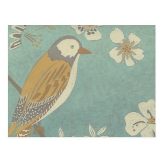 Yellow, Grey and Beige Bird Perched on a Branch Postcard