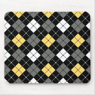 Yellow Grey and White Argyle Pattern Mouse Pad