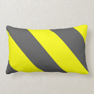 Yellow Grey Attention Warning Stripes Lumbar Pillow