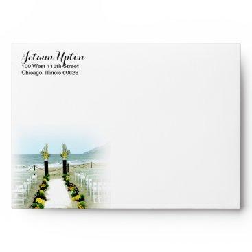 Beach Themed Yellow Grey Beach Wedding Down the Aisle Envelope