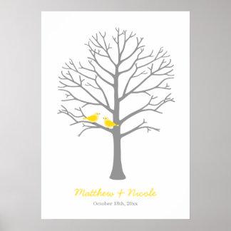 Yellow Grey Birds Fingerprint Tree Wedding Poster