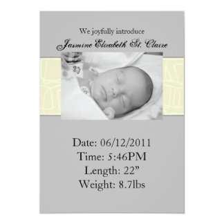 Yellow & Grey Birth Announcement