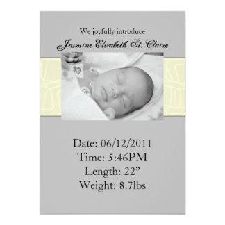 Yellow & Grey Birth Announcement