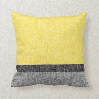 Yellow Grey Black Stripes Burlap Weave Texture Throw Pillow