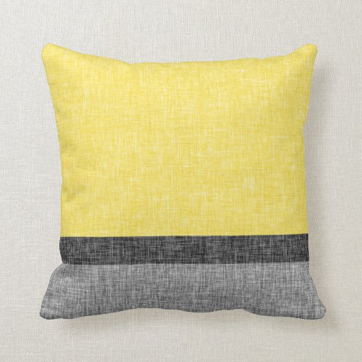 Yellow Grey Black Stripes Burlap Weave Texture Throw Pillow Zazzle