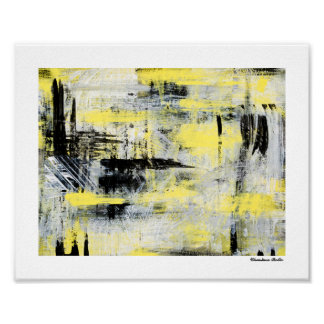Yellow Grey Black Urban Abstract Small Art Poster