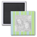 yellow grey blue stripes photo frame 2 inch square magnet