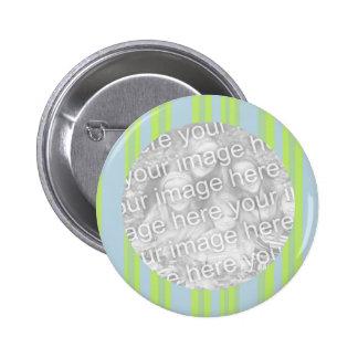 yellow grey blue stripes photo frame pinback buttons