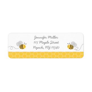 Yellow & Grey Bumble Bee Baby Shower Address Label