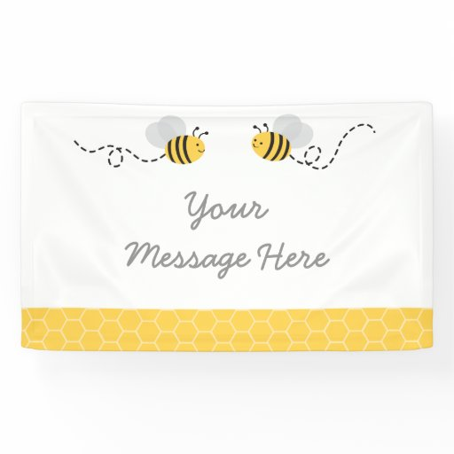 Yellow & Grey Bumble Bee Baby Shower Banner