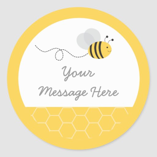 Yellow & Grey Bumble Bee Baby Shower Classic Round Sticker