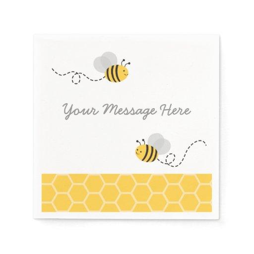 Yellow & Grey Bumble Bee Baby Shower Napkin