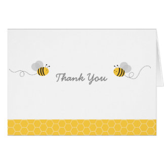 Yellow Amp Grey Bumble Bee Baby Shower Thank You Card